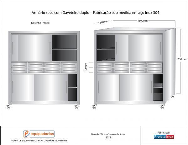 Armário Arquivo Para Pasta Suspensa ~ Armário seco de 2 andares com portas de correr EQUIPADARIAS